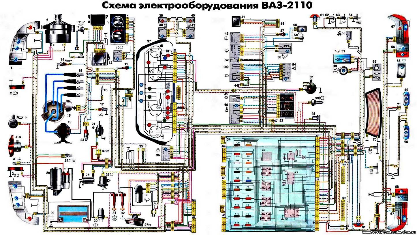 схема электрооборудования ваз 2109 высокая панель