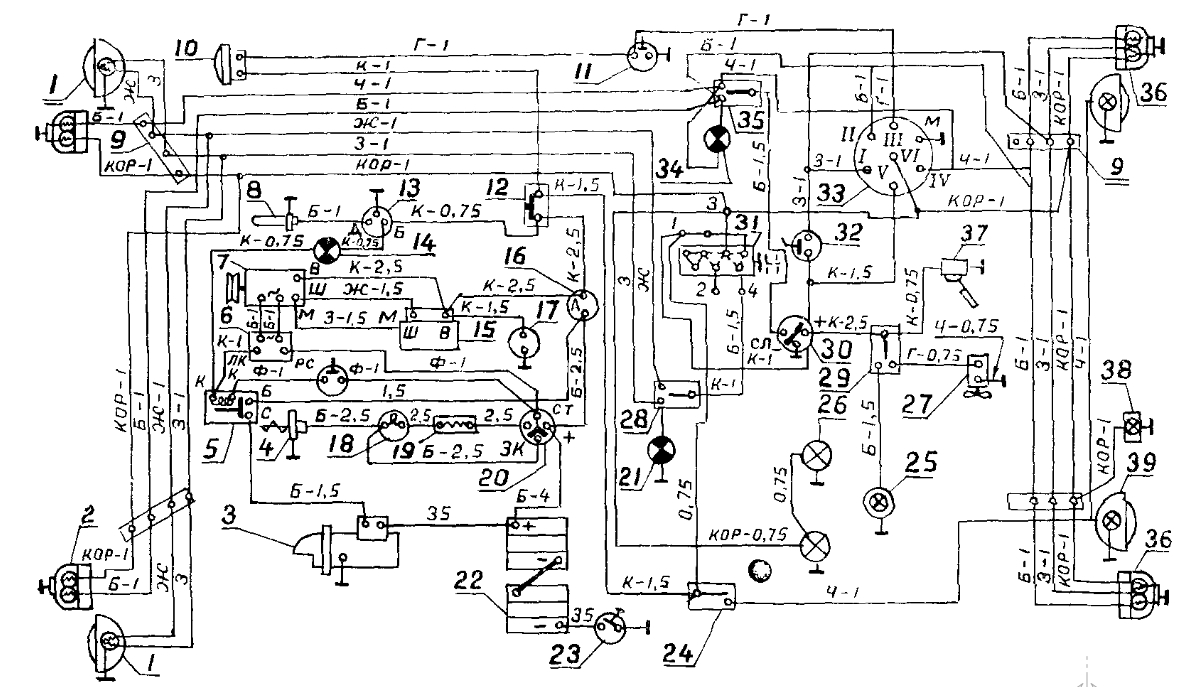 схема электропроводки на газ2705